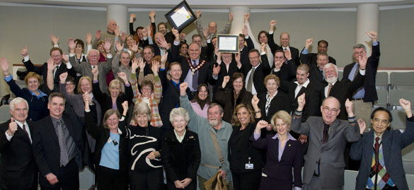 Markham residents celebrate the award on February 24, 2009.