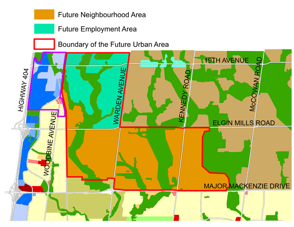 map of Markham's Future Urban Area