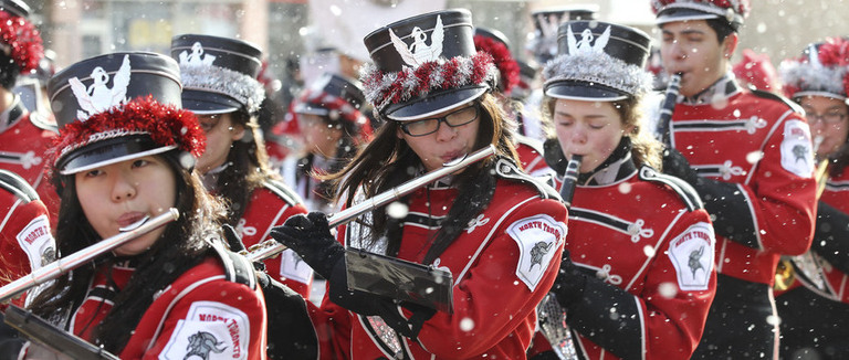 A BAnd playing Music at the Santa Claus Parade