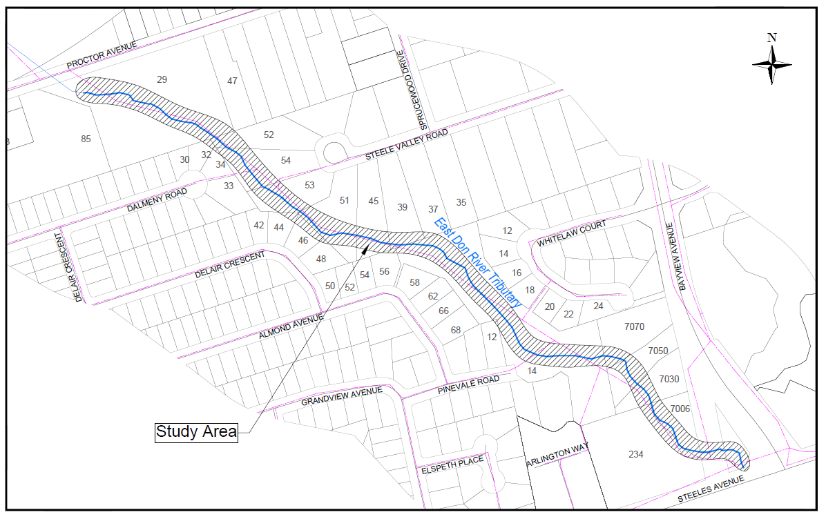 East Don River Erosion Control Study Area Map