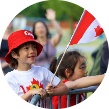 Image of Kid holding Canda Flag