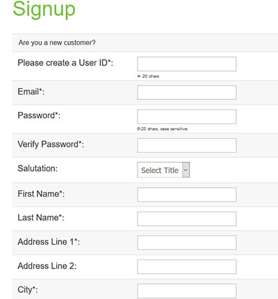 image of the Sign Up screen