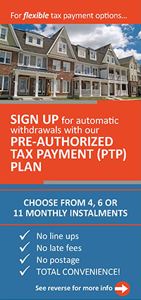an exmple of how a $5,000 tax bill would be paid through a PTP plan. 11 monthly instalments $454.55, 6 monthly instalments $833.33, 4 monthly instalments $1,250