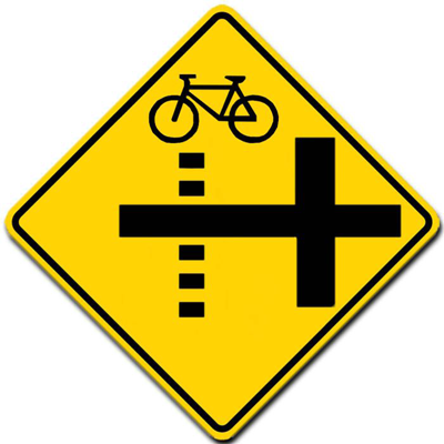 bicycle path crossing side street