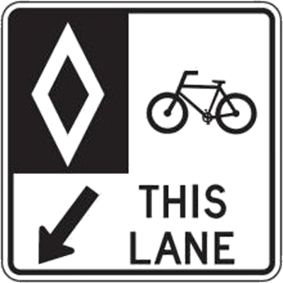 reserved bike lane sign