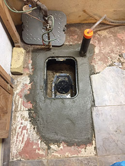 Backwater valve installed in basement floor