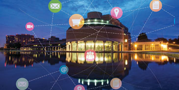 Civic Centre at Night with digital icons