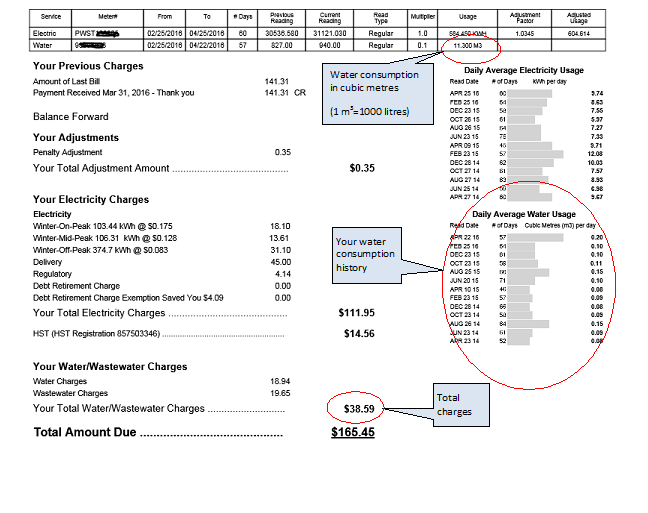 sample of a water bill