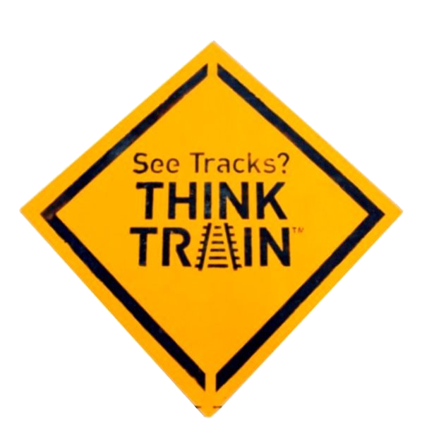 See Track, Think Train Pavement Marking