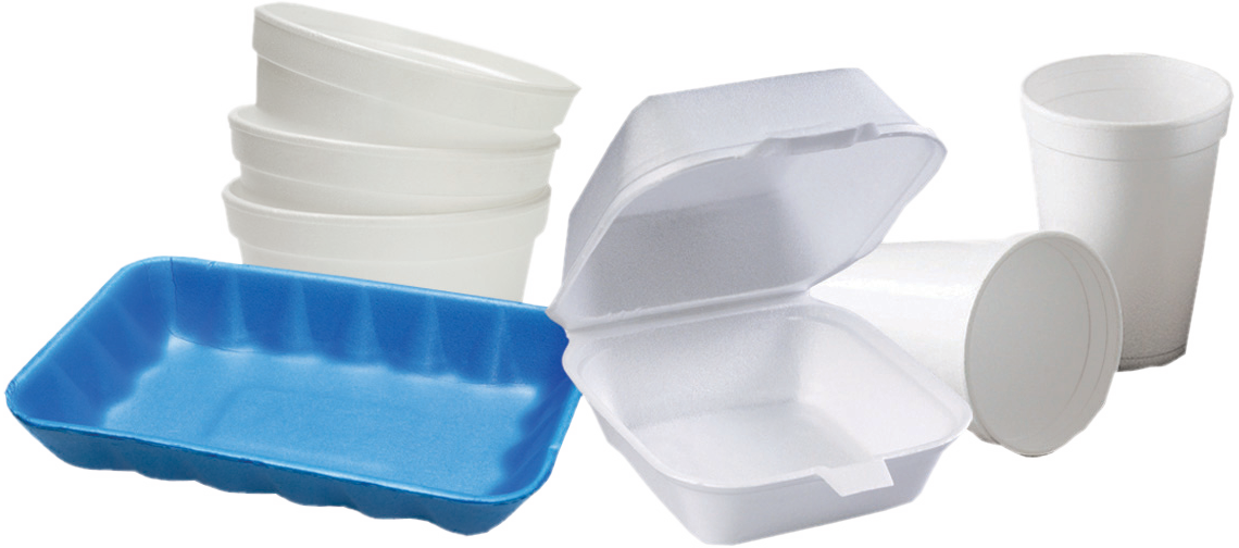 take-out food containers and styrofoam cups