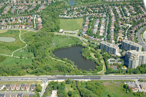 Aerial view of stormwater pond in Markham