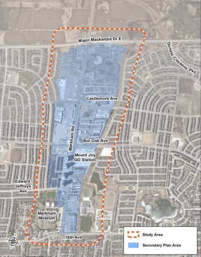 This map shows the boundaries of the secondary plan area as well as the broader study area.